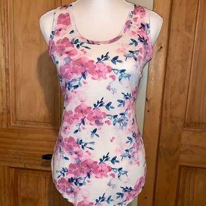 NWT M LLR Pink Floral Printed Tank Top